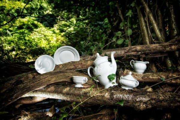 Friederike Kaffeekann, Teetasse, Milchgießer, Zuckerdose, Teller