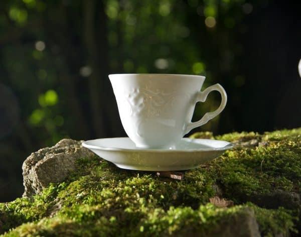 Kaffeetasse Friederike Roncaille Reliefverzierung mit Untertasse