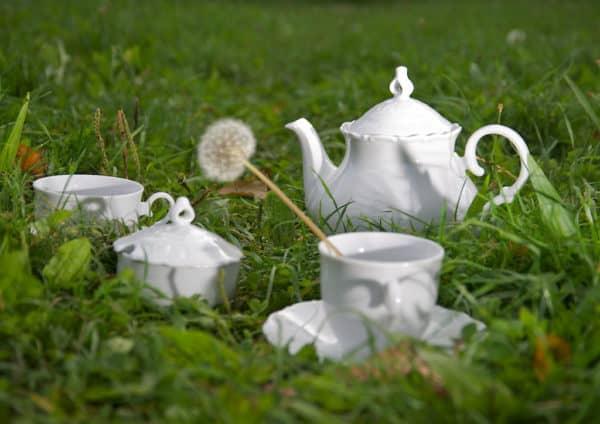 Ofelie Teekanne und Dedecke weißes Porzellan mit Barockrändchen