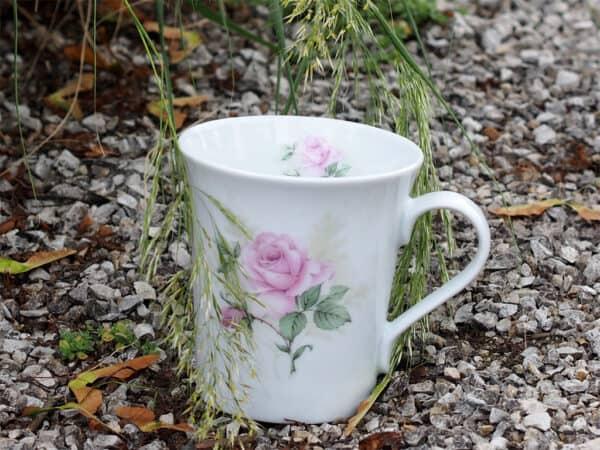 Porzellanbecher Emma mit englischer Rosa Rosen Claremond